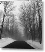 Wooded Winter Road Metal Print
