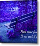 Wooden Bench With Inspirational Text Metal Print