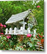 Wooden Bird House On A Pole 4 Metal Print