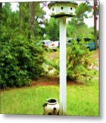 Wooden Bird House On A Pole 6 Metal Print