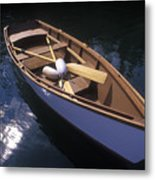 Wooden Boat And Paddles In Halibut Cove Metal Print