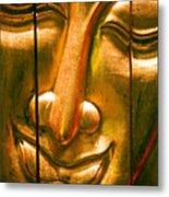 Wooden Buddha Face Metal Print