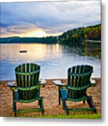 Wooden Chairs At Sunset On Beach Metal Print