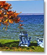 Wooden Chairs On Autumn Lake Metal Print