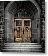 Wooden Church Door In Stone Archway Metal Print