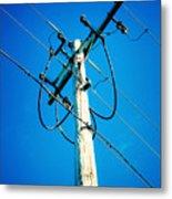 Wooden Electric Pole Metal Print