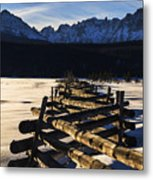 Wooden Fence And Sawtooth Mountain Range Metal Print