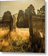 Wooden Fence With An Open Gate Metal Print