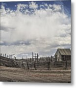 Wooden Fenced Corral Out West Metal Print