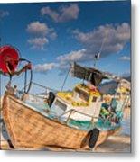 Wooden Fishing Boat On Shore Metal Print