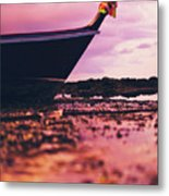 Wooden Fishing Thai Boat Sunken On The Rocky Beach During Tide Metal Print