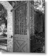 Wooden Garden Door B W Metal Print