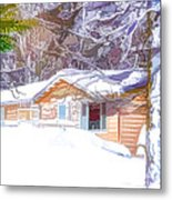 Wooden House In Winter Forest Metal Print