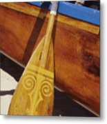 Wooden Paddle And Canoe Metal Print