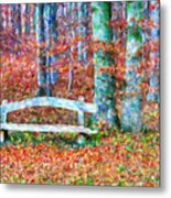 Wooden Park Bench In Dry Leaves  Metal Print