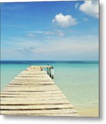 Wooden Pier On A Perfect Tropical Caribbean White Sand Beach Metal Print
