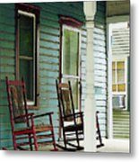 Wooden Rocking Chairs On Porch Metal Print