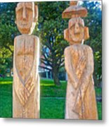 Wooden Sculptures In Central Park In Bariloche-argentina Metal Print