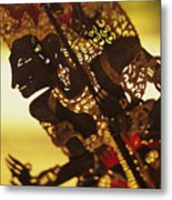 Wooden Shadow Puppets Metal Print