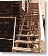 Wooden Stairs In Sepia Metal Print