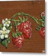 Wooden Strawberries Metal Print