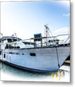 Wooden Yacht In Mooring Metal Print