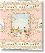 Woodland Fairy Tale - Blush Pink Forest Gathering Of Woodland Animals Metal Print