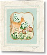 Woodland Fairy Tale - Deer Fawn Baby Bunny Rabbits In Forest Metal Print