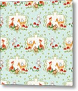 Woodland Fairy Tale - Sweet Animals Fox Deer Rabbit Owl - Half Drop Repeat Metal Print