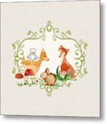 Woodland Fairytale - Grey Animals Deer Owl Fox Bunny N Mushrooms Metal Print