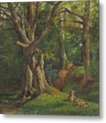 Woodland Scene With Rabbits Metal Print