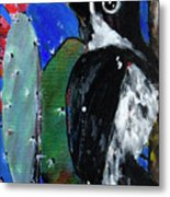 Woodpecker With Prickly Pear Cactus  Metal Print