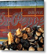 Woodpile With Taste - Dr Pepper Rustic Antique Red Country Southwest Metal Print
