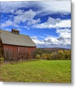 Woodstock Vermont Old Red Barn In Autunm Metal Print