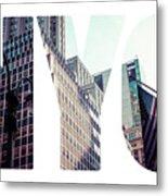 Word Nyc Manhattan Skyline At Sunset, New York City  Metal Print