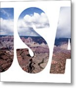 Word Usa Grand Canyon National Park, Arizona  Metal Print