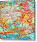 Work 00099 Abstraction In Cyan, Blue, Orange, Red Metal Print