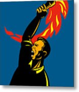 Worker With Torch Metal Print