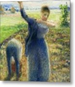 Workers In The Fields 1896-97 Camille Pissarro Metal Print