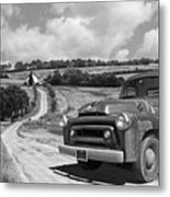 Down On The Farm- International Harvester In Black And White Metal Print