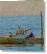 Working Hard Lobster Boat Smugglers Cove Boothbay Harbor Maine Metal Print