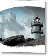 Working Lighthouse Isolated On White Metal Print
