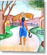 Working Woman Returning Home Metal Print by Tanmay Singh