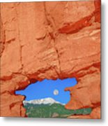 World-famous Pikes Peak Framed By What We Call The Keyhole  Metal Print