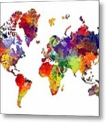 World Map 8 Watercolor Print  Metal Print