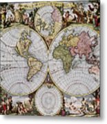 World Map, C1690 Metal Print