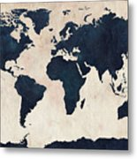 World Map Distressed Navy Metal Print