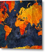 World Map - Elegance Of The Sun - Fractal - Abstract - Digital Art 2 Metal Print