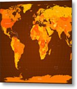 World Map Fall Colours Metal Print by Michael Tompsett