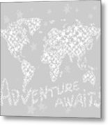 World Map For Kids White Gray Metal Print